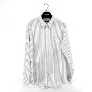 CHRISTIAN DIOR BUTTON DOWN PINSTRIPE DRESS SHIRT